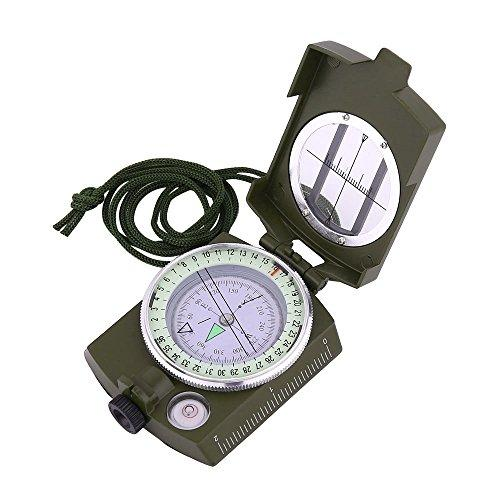 Sportneer Military Lensatic Sighting Compass with Carrying Bag, Waterproof and Shakeproof, Army Green