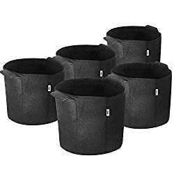 iPower 3-Gallon 5-Pack Grow Bags Fabric Aeration Pots Container with Strap Handles for Nursery Garden and Planting(Black)