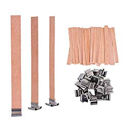 100 PCS Wood Candle Wicks with Iron Stand